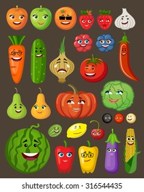 Big set of fruit and vegetables with persons and characters. Vector illustration