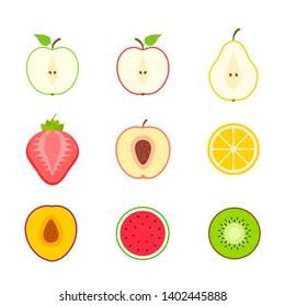 Big set of fruits and berries. Summer fruit. Fruit apple, pear, strawberry, orange, peach, plum, banana, watermelon, pineapple, kiwi, lemon. Fruits vector collection. Vector illustration.