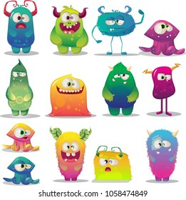 big set of funny cartoon happy colorful monsters