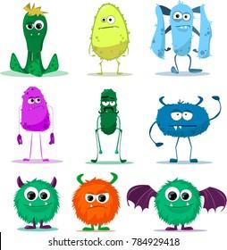 big set of funny cartoon happy monsters