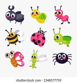 Big set of funny cartoon insects. Vector insects. Bee, worm, snail. Butterfly, caterpillar, spider, mosquito, ladybug, mantis, dragonfly, fly, rhinoceros beetle, ant. Comic insects