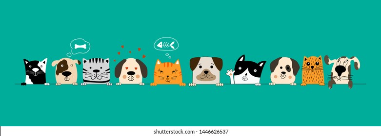 Big set of funny dogs and cute cats best friends. Happy friendship day. Vector illustration.