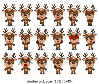 Big set of funny reindeer in cartoon style in different standing poses and emotions isolated on white background