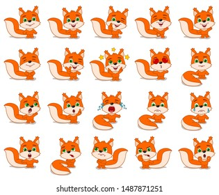 Big set of funny squirrel in cartoon style in different standing poses and emotions isolated on white background