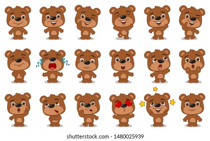 Big set of funny teddy bear in cartoon style in different standing poses and emotions isolated on white background
