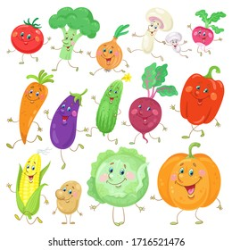 Big set of funny vegetables.  In cartoon style. Isolated on white background. Vector flat illustration.