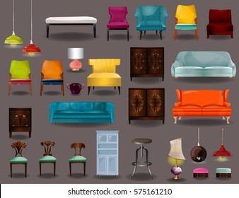 Big set furniture 3D vector.armchairs,sofa,chairs,chandeliers, lamps, bulbs, luster, electrolier vector isolated on gray background.Elements of interior.Modern flat design illustration. Interior set.