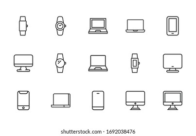 Big set of Gadget line icons. Vector illustration isolated on a white background. Premium quality symbols. Stroke vector icons for concept or web graphics. Simple thin line signs.