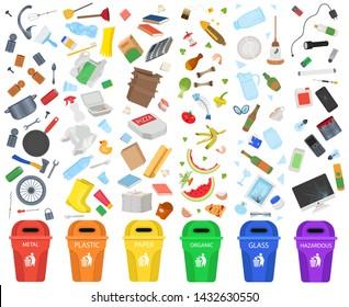 Big Set Garbage Sorting.  metal, plastic, paper, organic garbage, glass, hazardous waste.Vector Illustration.