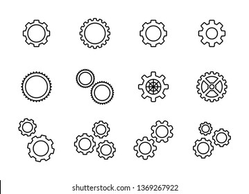Big set gear. Settings or options. Vector Illustration