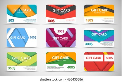 Big set of gift cards of values. material design. Templates of different colors and shapes. Vector illustration.