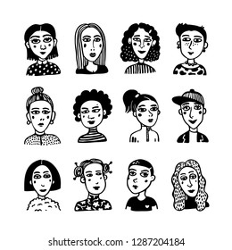 Big set of gilrls avatars. Doodle style portraits of fashionable girls. Feminists union, girls power, sisterhood concept. Black and white hand drawn vector illustration.