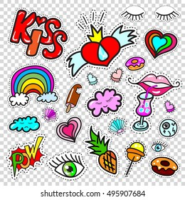 Big set of Girl  Fashion Comics Style Patch Badges, Stickers kit, Funny Pins, Skech Cartoon Labels with lettering, eyes, lips, cocktails, rainbow, heart, seashell, donuts, ice cream