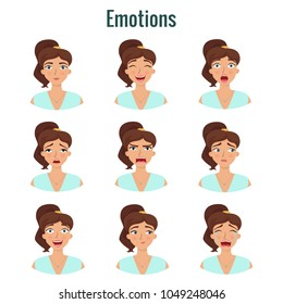 Big set of girl's emotions. Woman's face expressions. Vector flat illustration.