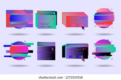 Big set of Glitch Art elements: Computer screen error, pixalization, digital noise, lo-fi artefact, data decay. Collection of abstract vector elements in pink, violet, blue, purple pastel colors.