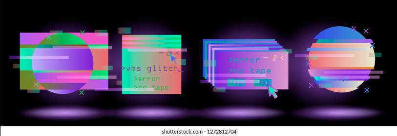 Big set of Glitched Frames: Computer screen error, pixalization, digital noise, lo-fi artefact in pink, violet, blue, purple neon colors. Collection of vector elements in Vaporwave/ Synthwave style.