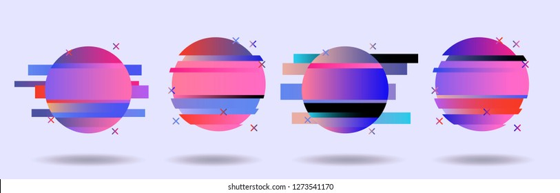 Big set of Glitched Frames: Computer screen error, pixalization, digital noise, lo-fi artefact in pink, violet, blue, purple pastel colors. Collection of vector elements in Vaporwave/ Synthwave style.