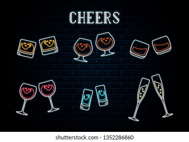 Big set of glowing neon clinking wine, wheskey, champagne, rum glasses and vodka or tequila shots. Vector isolated illustration. Icon for night bar background. Led luminous sign for pub signboard.