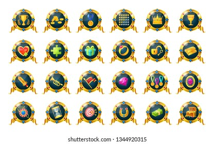 Big set of gold awards, badges, golden medals of achievements sucess for computer games. Game ui, ux interface design. Icons of gifts, gold, coin, gems, cups, medals, bonuses health vector
