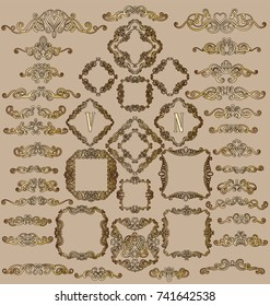 Big set of gold vintage styled calligraphic frames and flourishes, complex and exquisite decoration for invitation or greeting card.