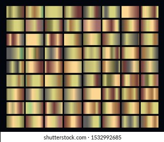 Big set with gradients with gold, metallic and green color