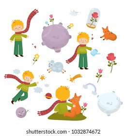 Big set of graphic elements - little boy, space, planets, rainbow, stars, little fox.  Combine object for nursery poster, print for baby room, shower card.
