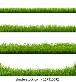 Big Set Green Grass Borders With Gradient Mesh, Vector Illustration