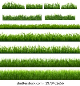 Big Set Green Grass Borders Isolated, Vector Illustration