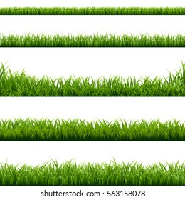 Big Set Green Grass Borders, Vector Illustration