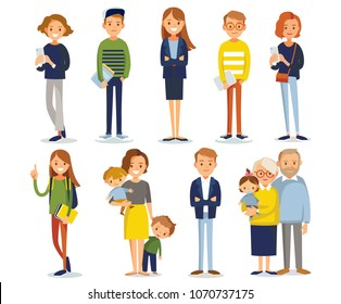 Big set group of diverse flat cartoon characters people couples, mom with kids in different poses standing together isolated on white background. Crowd people. Casualy looking dressed men women.Vector