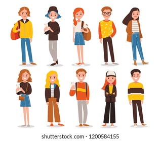Big set group of diverse flat cartoon characters people teenagers in different poses standing together isolated on white background. Crowd people. Casualy looking dressed men women. Vector.