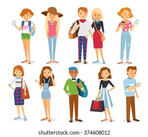 Big set group of diverse flat cartoon characters style young people couples in different poses standing together isolated on white background. Crowd people. Casualy looking dressed men women. Vector.