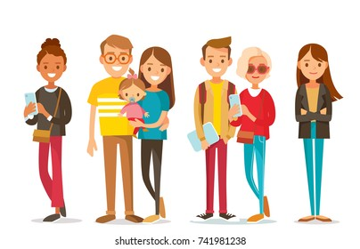 Big set group of diverse flat cartoon vector characters people couples, mom with kids in different poses standing together isolated on white background.Crowd people. Casualy looking dressed men women.