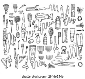 Big set of hair styling including 50 tools: hair dryer, hair straightener, curling iron, comb, hairspray and other tools. Hand drawn vector hair styling collection