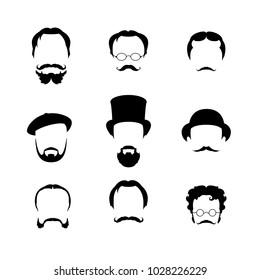 Big set Haircuts, glasses, beard, mustache. to create a retro style icon male faces. Vector illustration.