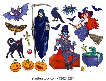Big set of Halloween cartoon characters and objects Grim Reaper skeleton, Count Dracula vampire, little witch, bat, crow, black cat, pumpkins, spider, cauldron. Hand drawn vector illustration isolated
