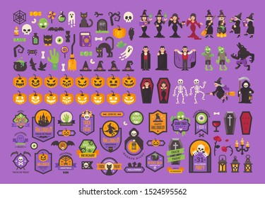 Big set of Halloween elements and characters. Flat Halloween illustration collection
