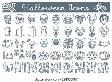 Big set of Halloween line icons, including pumpkins, skulls, bugs, pointy objects, body-parts and candy