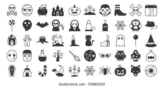 Big set of halloween silhouette icon include monster such as angle of death dracula