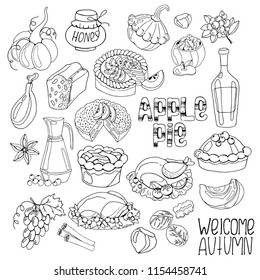 Big set of hand drawing autumn leaves, harvest, food, black and white vector illustration