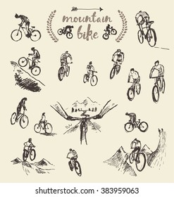 Big set of a hand drawing mountain bikes, vector illustration, sketch