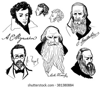 Big set with hand drawing portraits of the great Russian writers - Chekhov, Alexander Pushkin, Pushkin sketch, Tolstoy, Fedor Dostoevsky, Pushkin profile. Set of isolated elements on white background