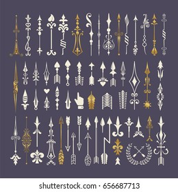 Big set of hand drawn arrows and design elements
