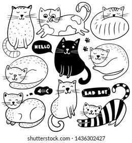 Big set of hand drawn cats on a white background. Vector illustration. Doodle sketch.