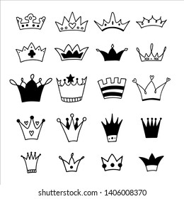 Big set of hand drawn crowns on a white background. Doodle style. Vector illustration.