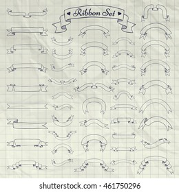 Big Set of Hand Drawn Doodle Sketched Rustic Decorative Banners and Ribbons. Vector Illustration. Pen Drawing Outlined Objects on Crumpled Notebook Texture