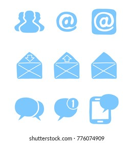 big set of hand drawn doodle cartoon objects and symbols on the Social Media, mail, and messaging theme
