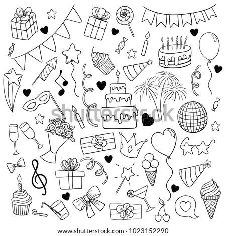 big set hand drawn doodle cartoon stock vector royalty free