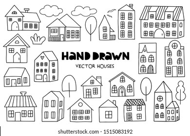 Big set of hand drawn houses on white background. Doodle style. Vector illustration.