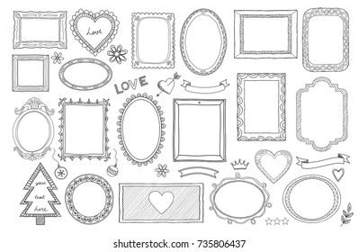 Big set of hand drawn isolated frames and different elements: hearts, banners, flowers, lettering.